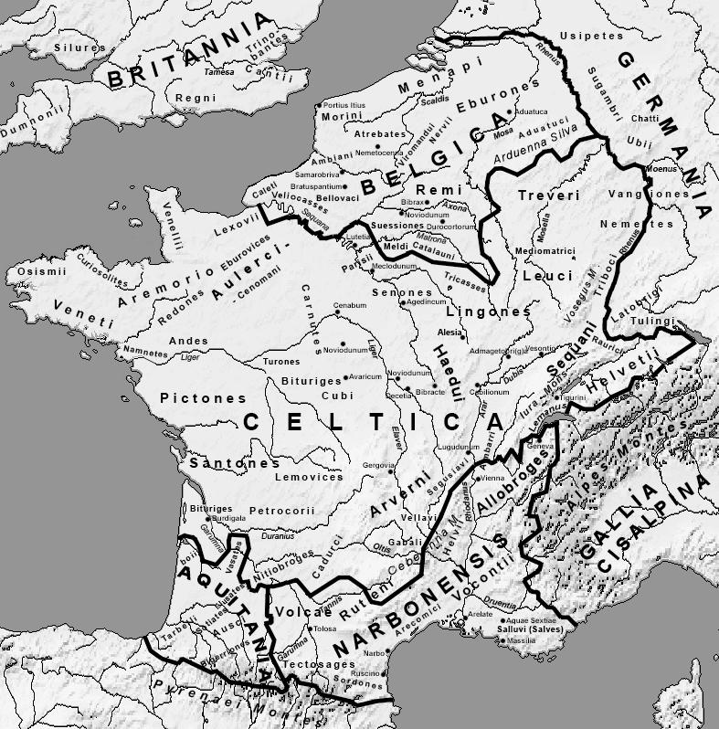 Map of Gaul, Late Roman Republic, Julius Caesar