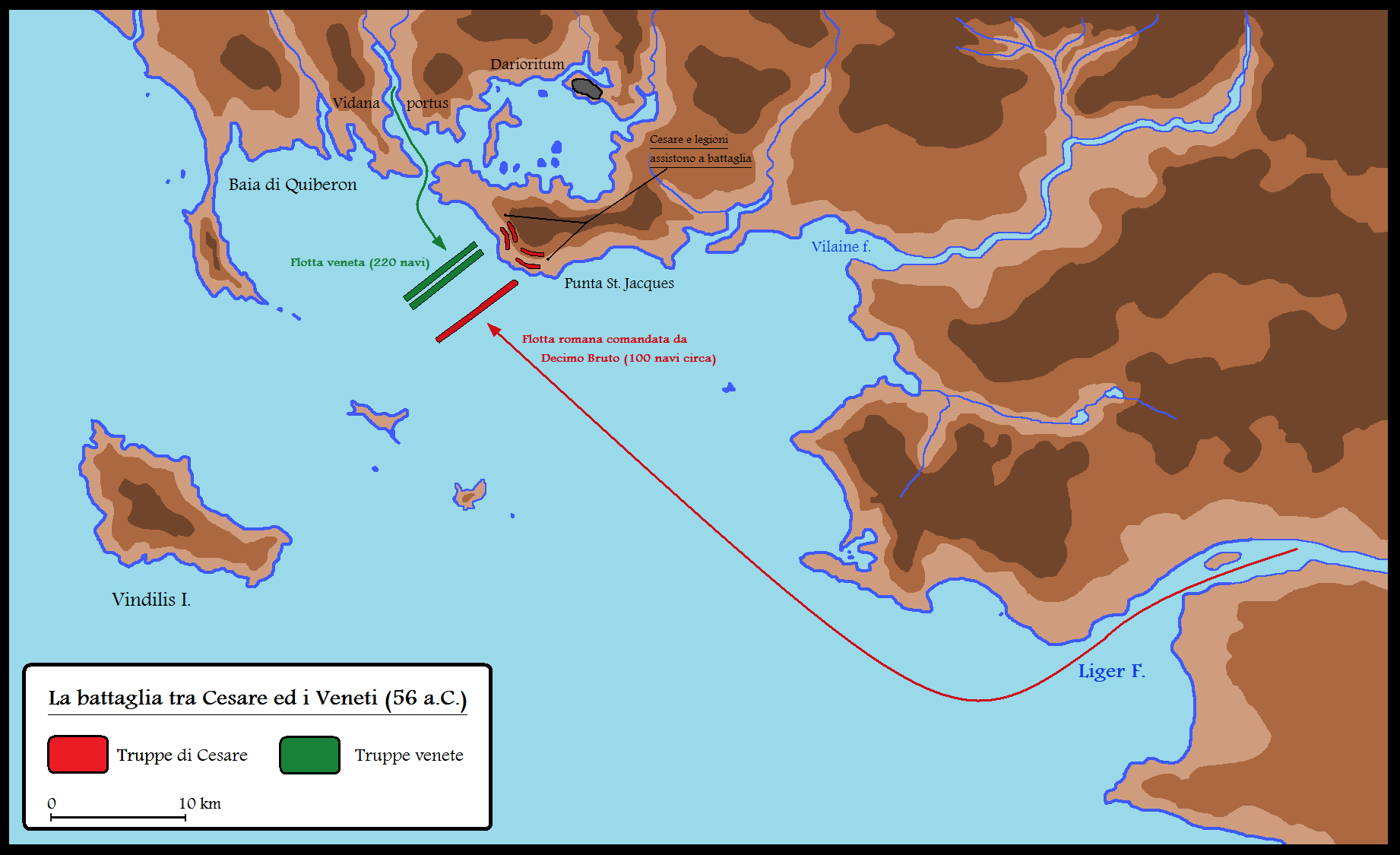 Depiction of the Naval Movements During the Battle Against the Veneti in 56 B.C.