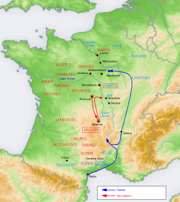 Map of Caesar's Movements to Rejoin his Legions at the start of the Gallic Rebellion