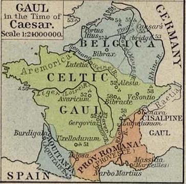 Map of Gaul, 1st Century B.C.