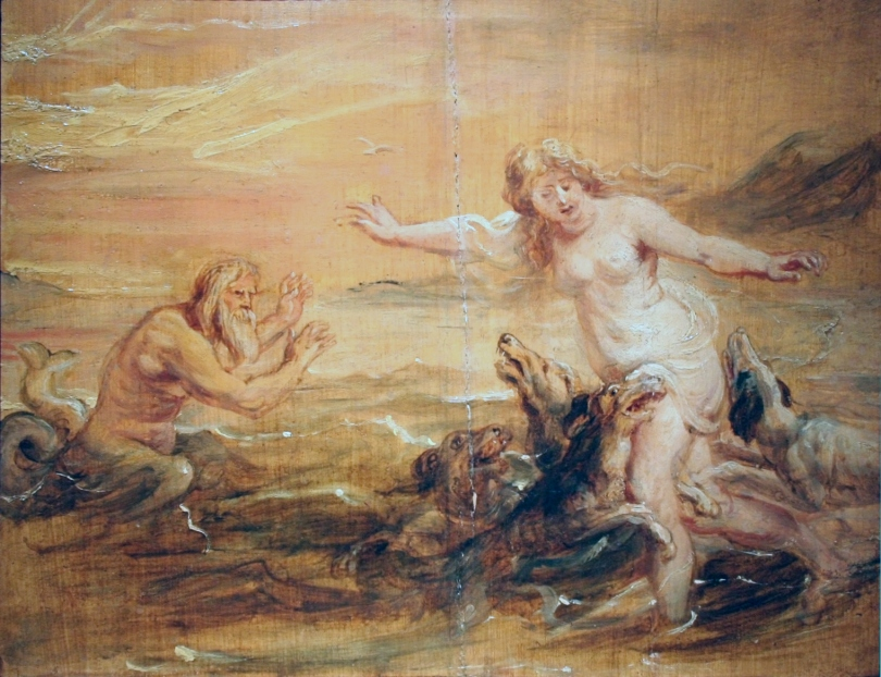 Scylla and Glaucus as Circe's poison begins to transform Scylla, by Peter Paul Rubens c. 1636
