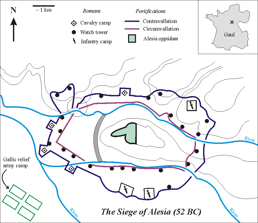 Map of the Siege of Alesia, 52 B.C.