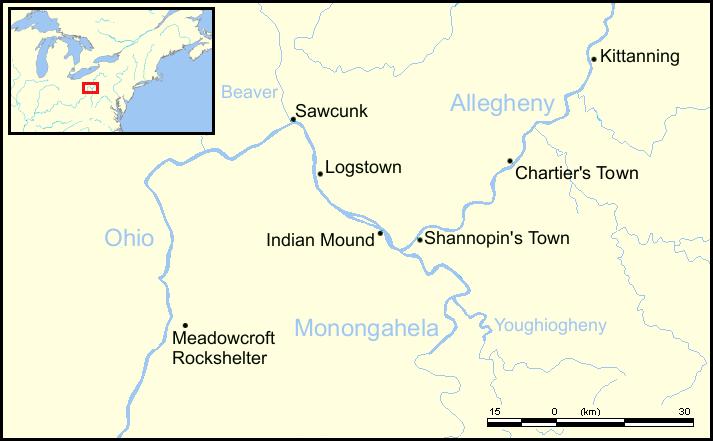 Logstown map,  Colonial America