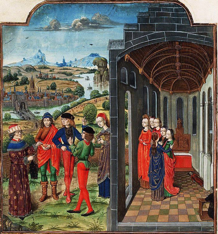 Giovanni Boccaccio and Florentines Fleeing From the Plague, 1482