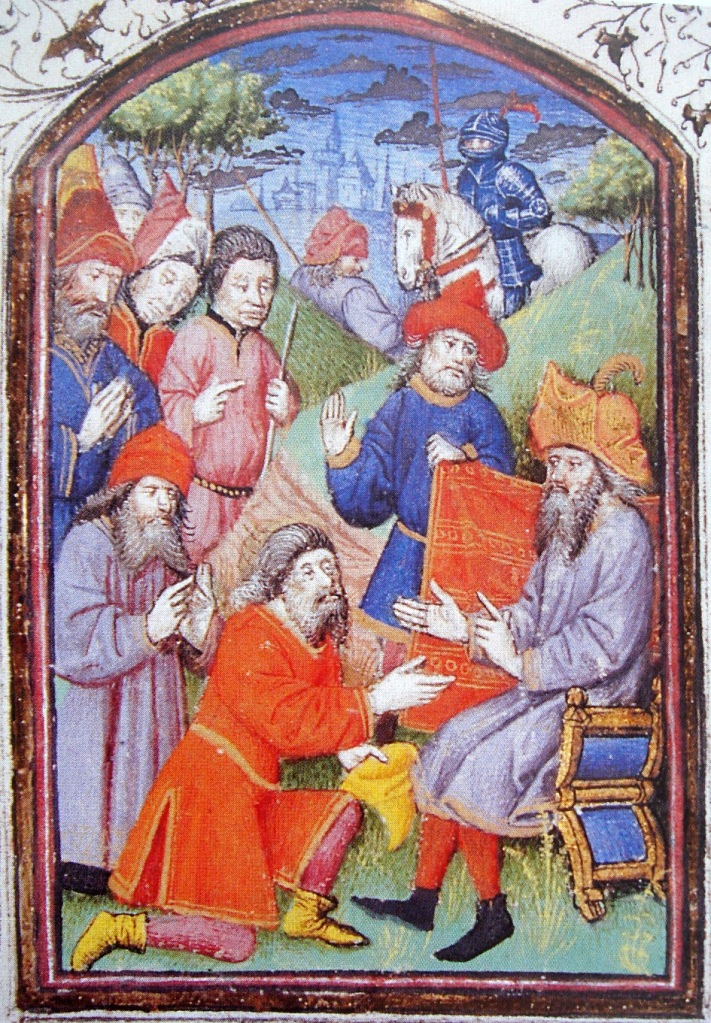 "Hetoum I (seated) at the court of the Mongols, receiving homage by the Mongols. ""Histoire des Tartars"", Hayton of Coricos, 1307"