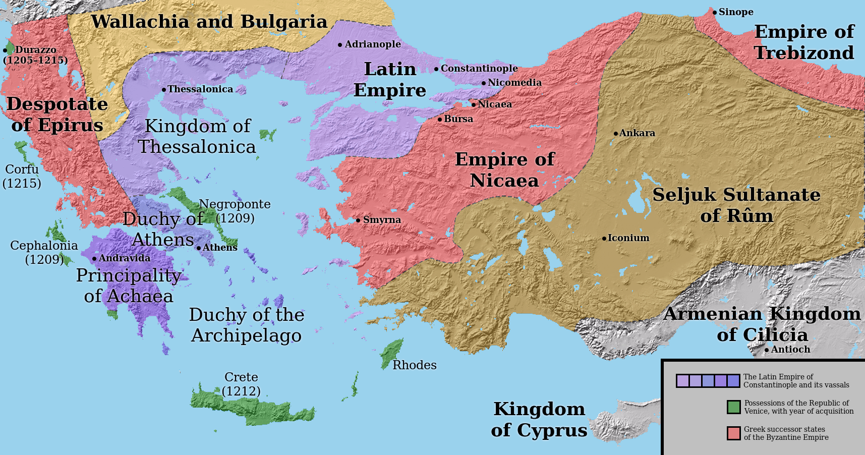 Map of Byzantium, Greece, Asia Minor, and Armenian Cilicia