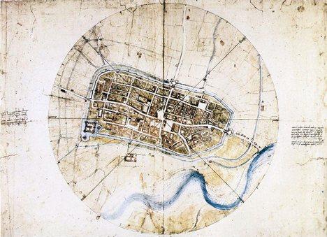 Map of Imola By Leonardo da Vinci, 1502