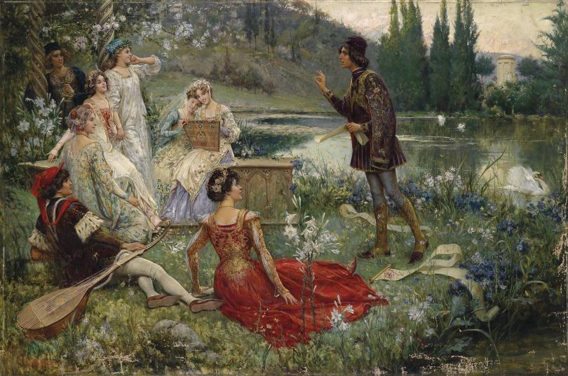 A scene from Boccacio's Decameron by Salvatore Postiglione, 1906