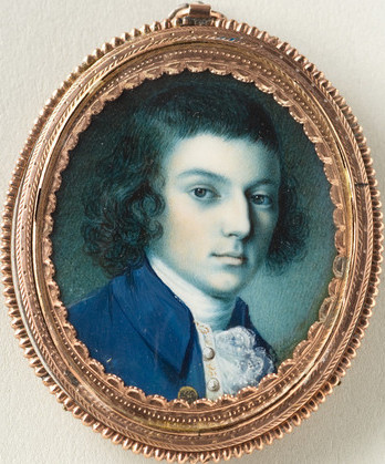 "Portrait of John ""Jacky"" Parke Custis (1755-1781) by Charles Willson Peale, ca. 1774, watercolor-on-ivory, 6.4 × 5.1cm (2 1/2 × 2""), Mount Vernon Ladies' Association Catalog of American Portraits: W-2355 B"